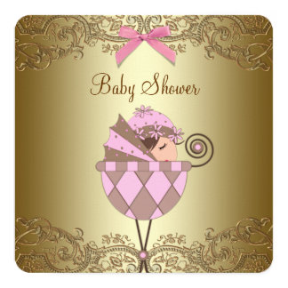 Pink and Gold Lace Girl Baby Shower Card