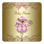 Pink and Gold Lace Girl Baby Shower Customized Invitation Cards