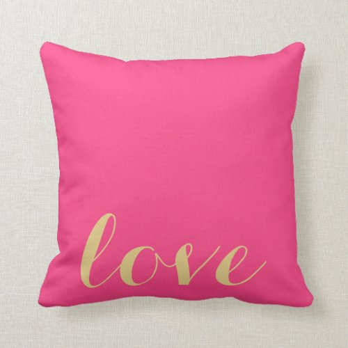Pink and Gold 'Love' Accent Pillow