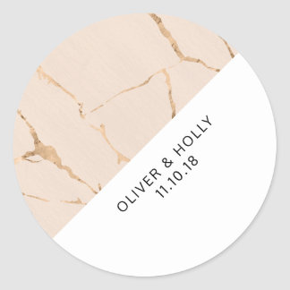Pink and gold marble circle favor sticker