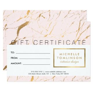 Pink and Gold Marble Designer Gift Certificate Card
