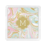 Pink and Gold Marble Swirls Monogrammed Acrylic Tray
