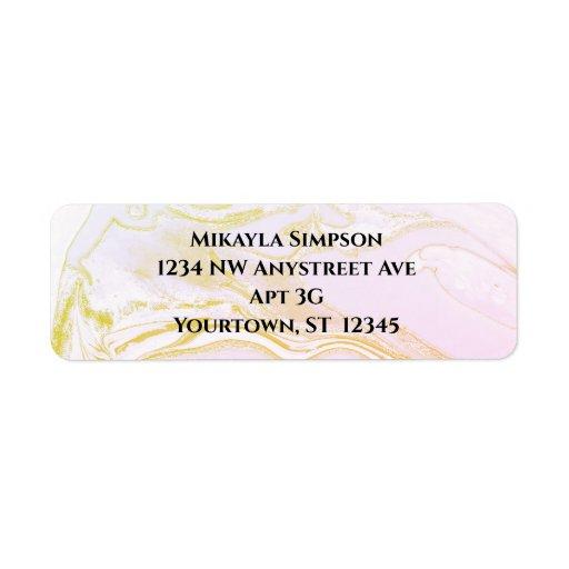 Pink and Gold Marbled Return Address Label