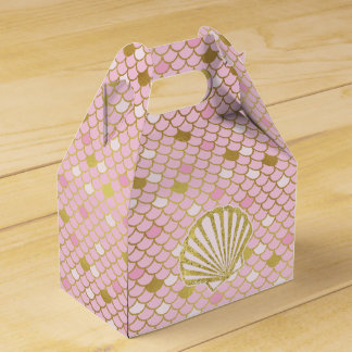 Pink and Gold Mermaid Favor Box