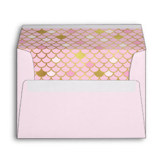 Pink and Gold Mermaid Scales Envelope
