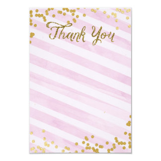 Pink and Gold Metallic sprinkle Thank you card