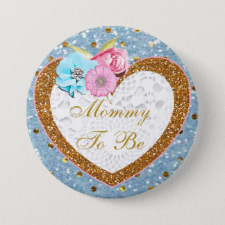 Pink and Gold Mommy to Be Baby Shower Button
