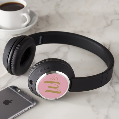 Pink and gold monogram headphones