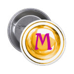 Pink and Gold Monogrammed Letter Pinback Button