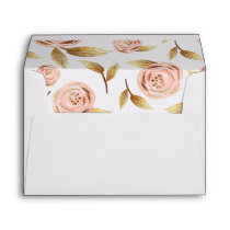 Pink and Gold Painterly Rose Envelopes