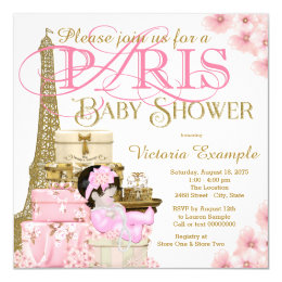 Paris baby shower invitations announcements zazzle pink and gold paris baby shower card filmwisefo Gallery