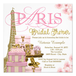 Pink and Gold Paris Bridal Shower Card