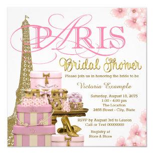pink and gold paris bridal shower invitation