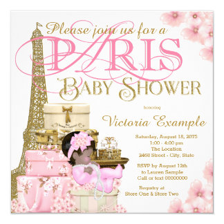 Pink and Gold Paris Ethnic Girl Baby Shower Card