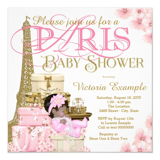 Pink And Gold Paris Ethnic Girl Baby Shower Invitation Zazzle