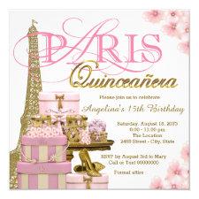 Pink and Gold Paris Quinceanera Invitation