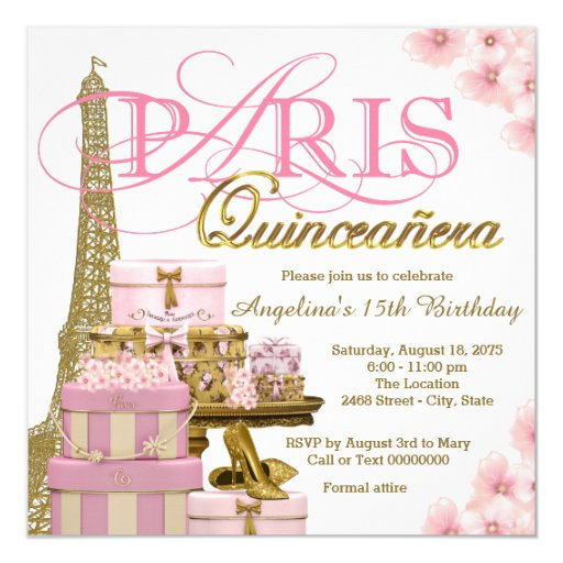 Pink and Gold Paris Quinceanera Invitation
