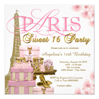 Pink and Gold Paris Sweet 16 Party Invitation