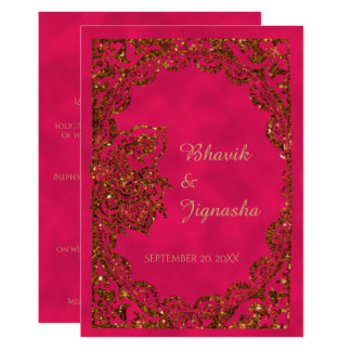 Pink And Gold Pea Indian Wedding Invitation