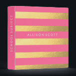 """Pink And Gold Personalized Binder<br><div class=""""desc"""">This super cute pink and gold binder would be perfect for anything! Whether you want to keep your school subjects organized or recipes, they&#39;ll look amazing in this binder! Personalize this binder just for you by adding whatever text you&#39;d like on to the spine of the binder, and on the...</div>"""