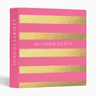 Pink And Gold Personalized Binder at Zazzle