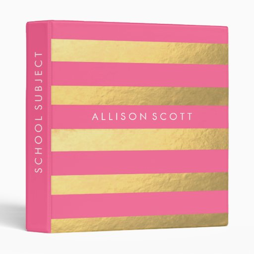 Pink And Gold Personalized Binder