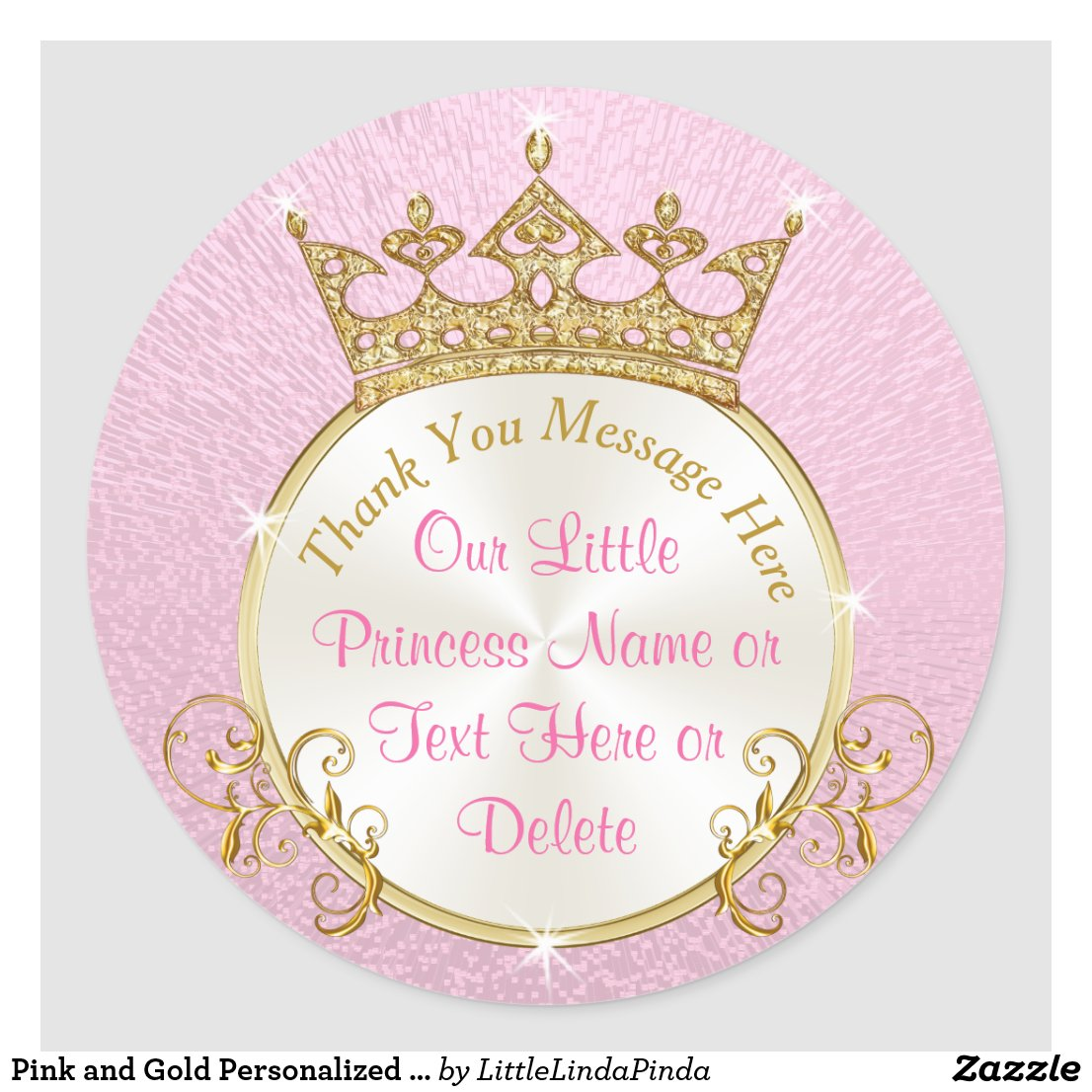 Pink And Gold Personalized Princess Stickers Gold Glitter Pink Royal Princess  Baby Shower ...