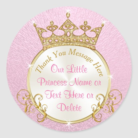 Pink And Gold Personalized Princess Stickers Zazzle Com