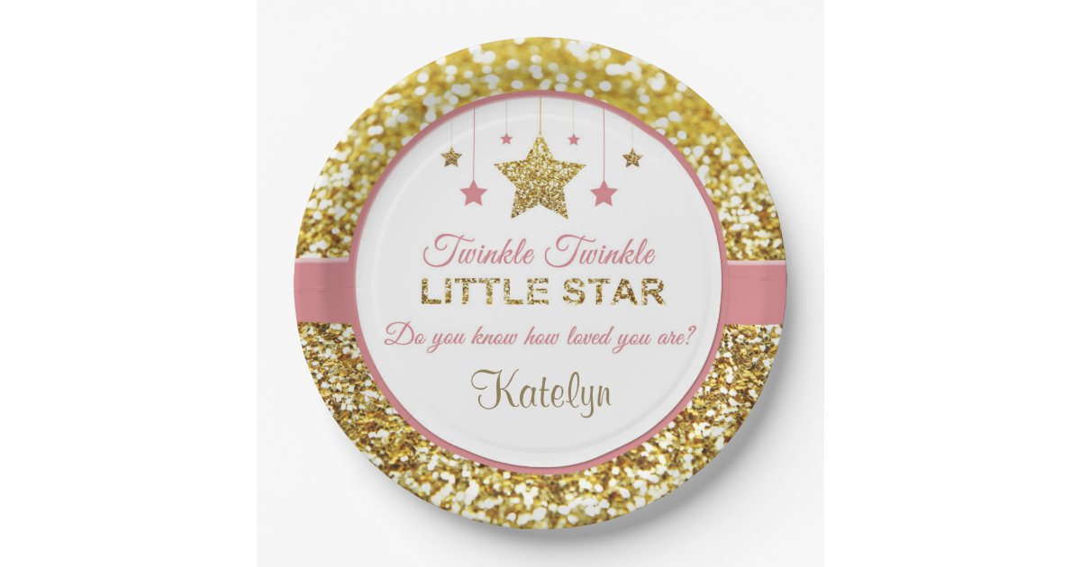 Pink And Gold Plates Twinkle Little Star Paper