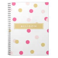 Pink and Gold Polka Dot Monogram Notebook