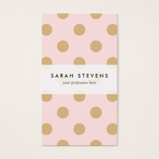 Pink and Gold Polka Dot Pattern Business Card