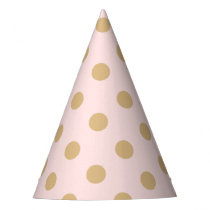 Pink and Gold Polka Dot Pattern Party Hat