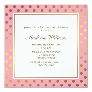 Pink and Gold Polka Dots Birthday Card