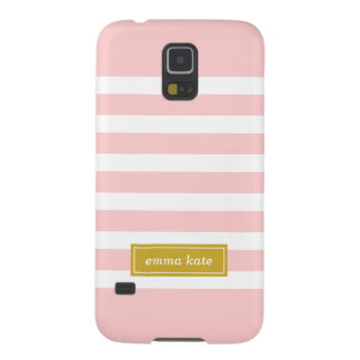 Pink and Gold Preppy Stripes Monogram Cases For Galaxy S5