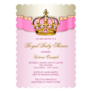Pink and Gold Princess Baby Shower Cards