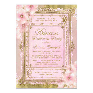 Pink and Gold Princess Birthday Party Card