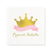 Pink and Gold Princess Birthday Party Paper Napkin