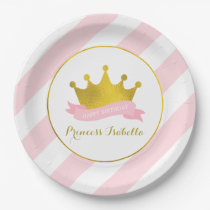 Pink and Gold Princess Birthday Party Paper Plate