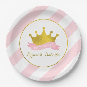 heartlocked Pink and Gold Princess Birthday Party Paper Plate