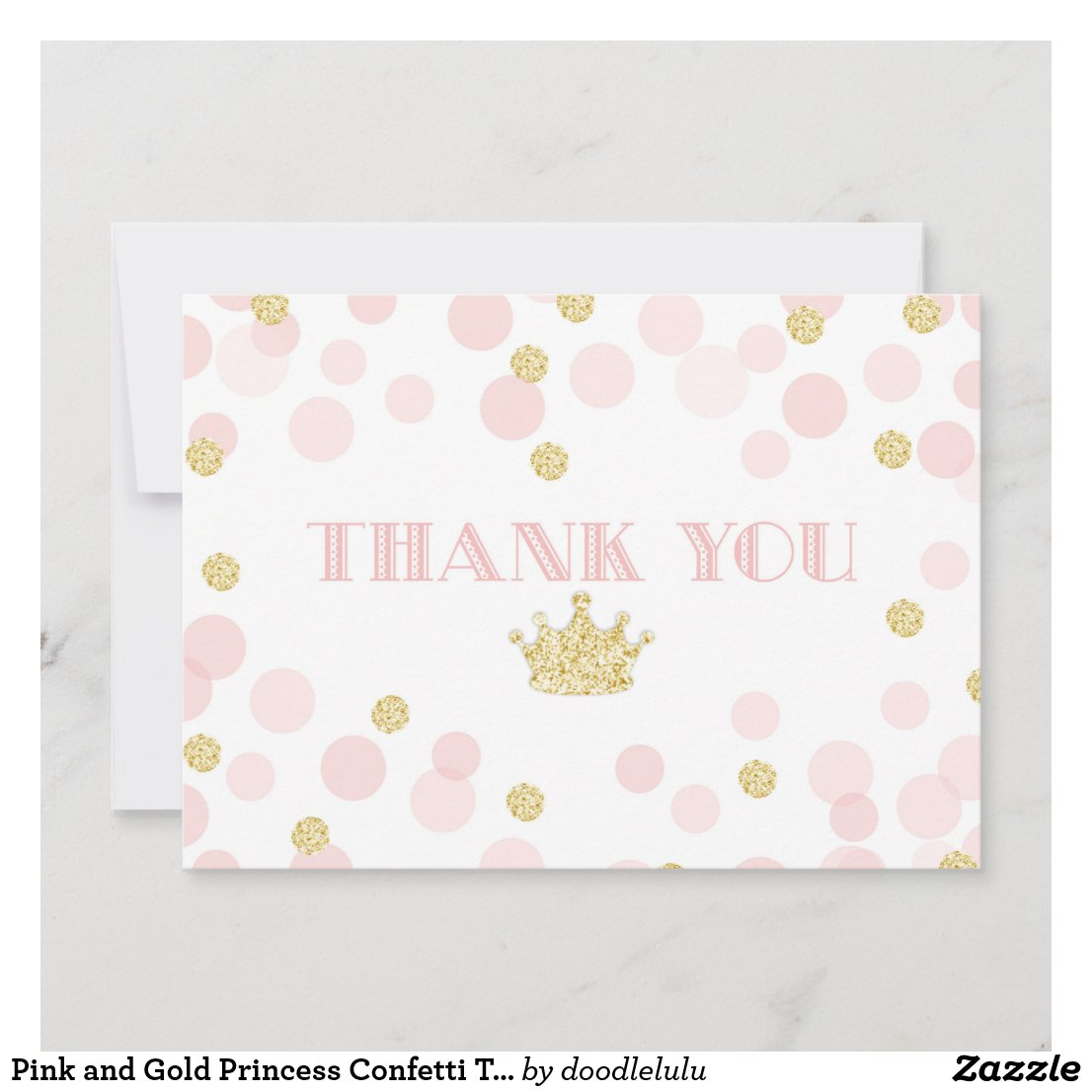 Pink and Gold Princess Confetti Thank You Card