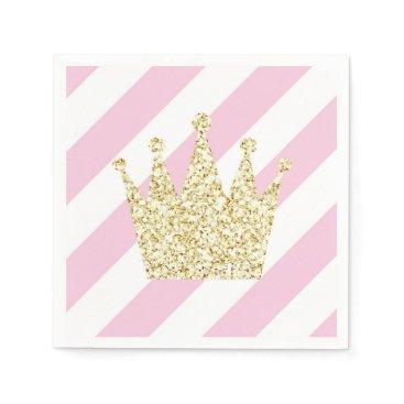 USA Themed Pink and Gold Princess Crown Napkins
