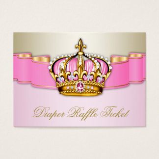 Pink and Gold Princess Girls Diaper Raffle Ticket