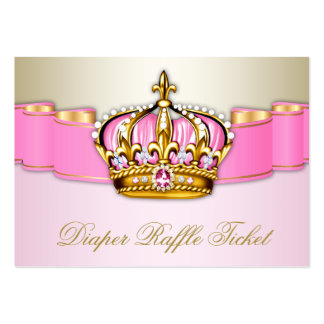 Pink and Gold Princess Girls Diaper Raffle Ticket Large Business Card