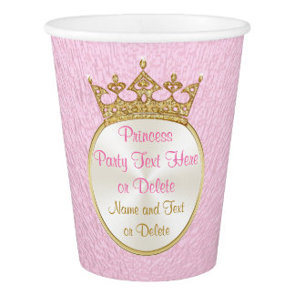 Pink and Gold Princess Paper Cups with YOUR TEXT