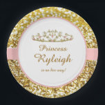 "Pink and gold princess plates<br><div class=""desc"">These Pink and gold princess plates have lots of gold sparkles on them,  a tiara and pink. You can use these plates for baby showers or birthday parties.</div>"
