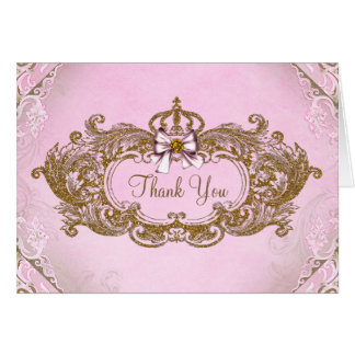 Pink and Gold Princess Thank You Card
