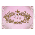Pink and Gold Princess Thank You Stationery Note Card