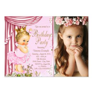 Pink and Gold Princess Tutu Pearl Birthday Party Card