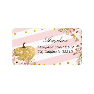 Pink and Gold Pumpkin Address Label