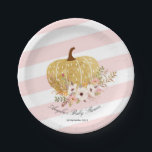"Pink and Gold Pumpkin Baby Show Party Paper Plates<br><div class=""desc"">Pink and Gold Pumpkin Baby Show Party Paper Plates</div>"